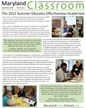 The 2012 Summer Educator Effectiveness Academies, Maryland Classroom, September 2012